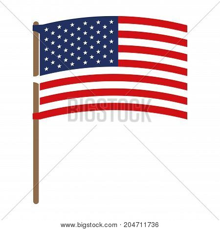 flag united states of america in flagpole waving colorful silhouette without contour vector illustration