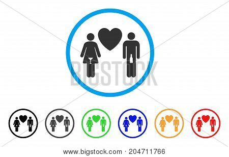 Drunky Love Pair rounded icon. Style is a flat drunky love pair grey symbol inside light blue circle with black, gray, green, blue, red, orange variants.