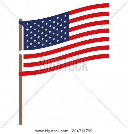 flag united states of america in flagpole to side in colorful silhouette without contour vector illustration