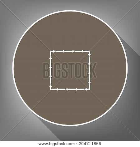 Arrow on a square shape. Vector. White icon on brown circle with white contour and long shadow at gray background. Like top view on postament.