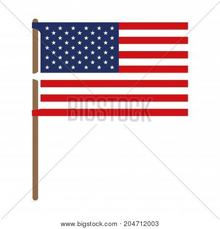 flag united states of america in flagpole and colorful silhouette without contour vector illustration