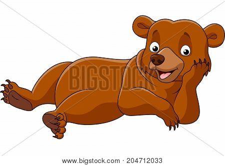 Cartoon lazy bear isolated on white background