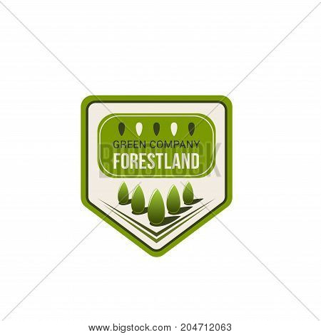 Green nature, eco park isolated badge. Ecology tree and organic plant nature landscape vector icon on shield for environment protection, ecology, green city and eco landscaping design