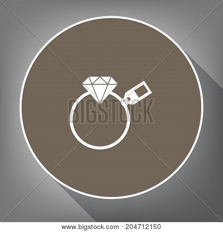 Diamond sign with tag. Vector. White icon on brown circle with white contour and long shadow at gray background. Like top view on postament.