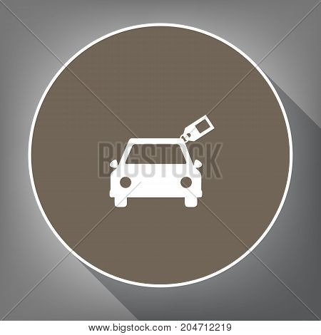 Car sign with tag. Vector. White icon on brown circle with white contour and long shadow at gray background. Like top view on postament.