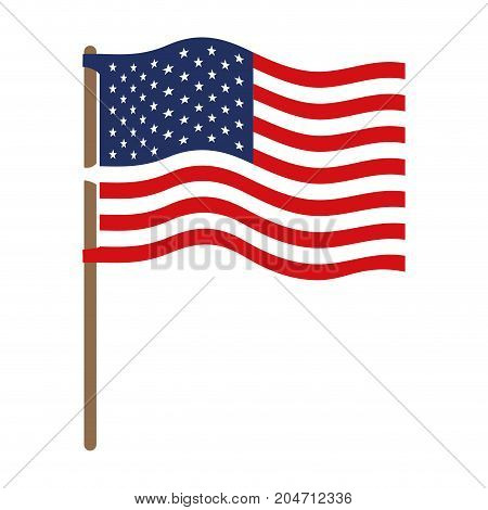 flag united states of america in flagpole wave and colorful silhouette without contour vector illustration