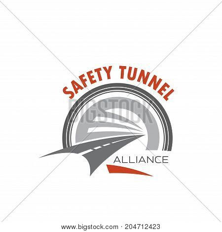 Road tunnel and safety traffic symbol. Speed highway with road tunnel entrance isolated icon. Safety tunnel emblem for transportation and road building company design