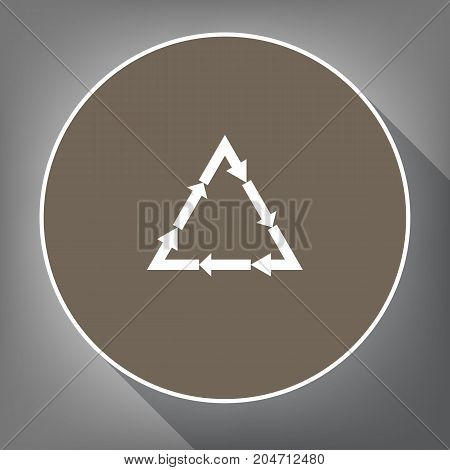 Plastic recycling symbol PVC 3 , Plastic recycling code PVC 3. Vector. White icon on brown circle with white contour and long shadow at gray background. Like top view on postament.