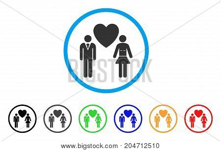 Love Persons rounded icon. Style is a flat love persons grey symbol inside light blue circle with black, gray, green, blue, red, orange versions. Vector designed for web and software interfaces.