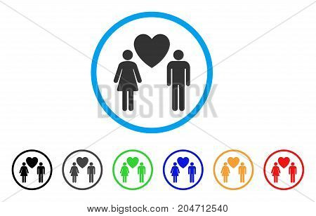 Love Persons rounded icon. Style is a flat love persons grey symbol inside light blue circle with black, gray, green, blue, red, orange variants. Vector designed for web and software interfaces.