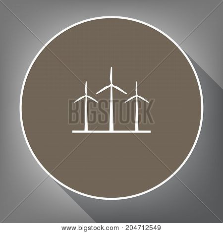 Wind turbines sign. Vector. White icon on brown circle with white contour and long shadow at gray background. Like top view on postament.