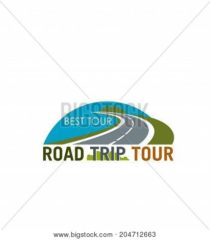 Road trip tour symbol with coastal highway. Car travel isolated icon with road or freeway for travel agency emblem, transportation service badge, tourism and outdoor adventure themes design