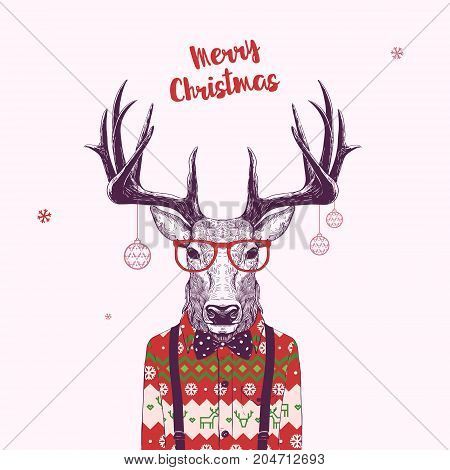 Christmas Card with Nerd Hipster Deer Vector Illustration