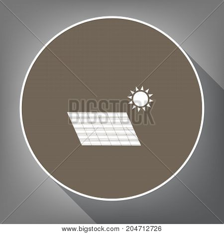 Solar energy panel. Eco trend concept sign. Vector. White icon on brown circle with white contour and long shadow at gray background. Like top view on postament.