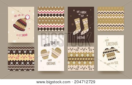 Set of Cute Illustrated Christmas Card with Winter Hat Socks and Sweater Christmas patterns Golden Colors