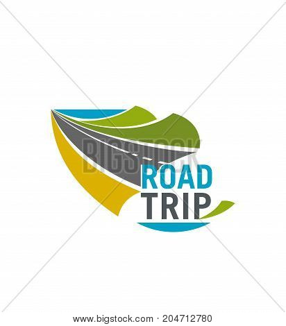 Road trip isolated icon. Mountain highway or coastal freeway emblem for car travel, tourist bus tour or transportation service design