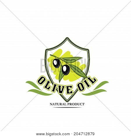Olive oil isolated symbol. Black olive branch on shield with green leaf for olive oil bottle label, italian cuisine food emblem or natural product themes design