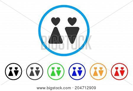 Lovers rounded icon. Style is a flat lovers grey symbol inside light blue circle with black, gray, green, blue, red, orange versions. Vector designed for web and software interfaces.