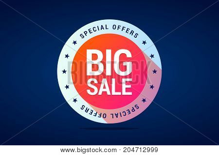 Colorful round label for sale and special offers. Can use in web or offline stores for best sale your products. Vector isolated illustration in modern gradient style.