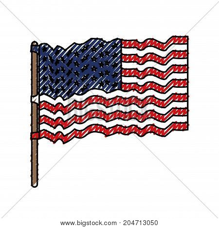 flag united states of america waving in flagpole and colored crayon silhouette vector illustration