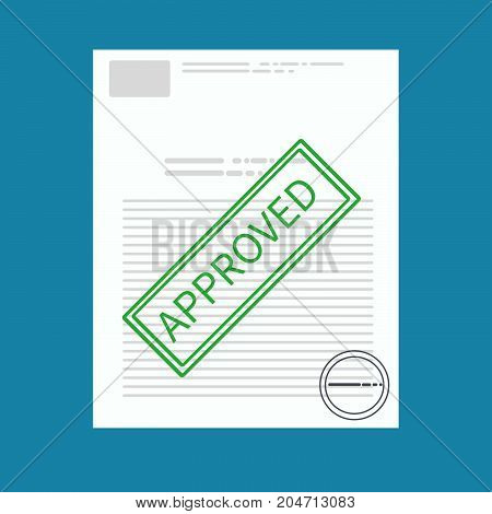 Vector Approved paper document concept. Green Approved stamp on worker profile. Vector flat illustration. -stock vector