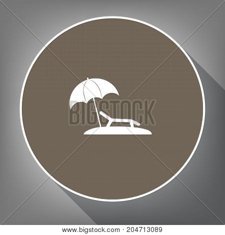 Tropical resort beach. Sunbed Chair sign. Vector. White icon on brown circle with white contour and long shadow at gray background. Like top view on postament.