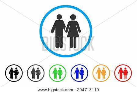 Married Couple rounded icon. Style is a flat married couple gray symbol inside light blue circle with black, gray, green, blue, red, orange versions. Vector designed for web and software interfaces.
