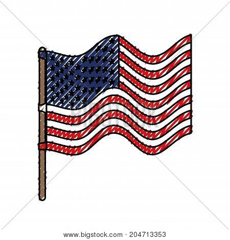 flag united states of america in flagpole waving and colored crayon silhouette vector illustration