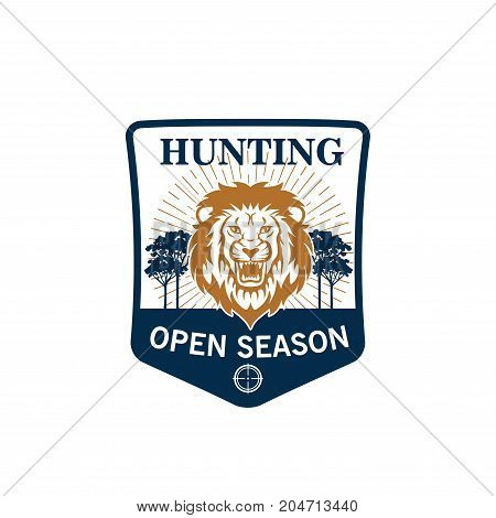 Hunting season badge of lion head with target. Roaring african lion on heraldic shield with savanna landscape and tree for hunting sport, hunter club and safari adventure design