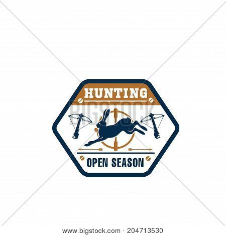 Hunter club isolated badge with wild animal. Hunting sport symbol with hare, target, bow and arrow for hunter open season, bowhunting and outdoor adventure themes design