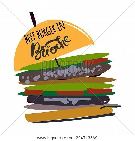 Burger in brioche  illustration for menu, cards, patterns, wallpaper.