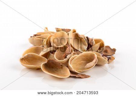 Pistachio Nut Shell On White