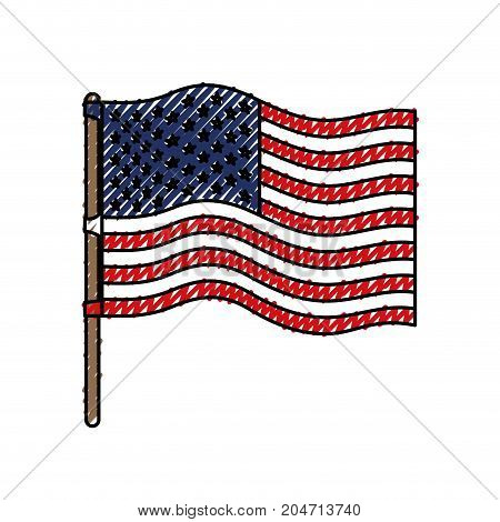 flag united states of america in flagpole wave and colored crayon silhouette vector illustration
