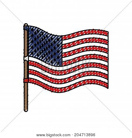 flag united states of america wave in flagpole and colored crayon silhouette vector illustration