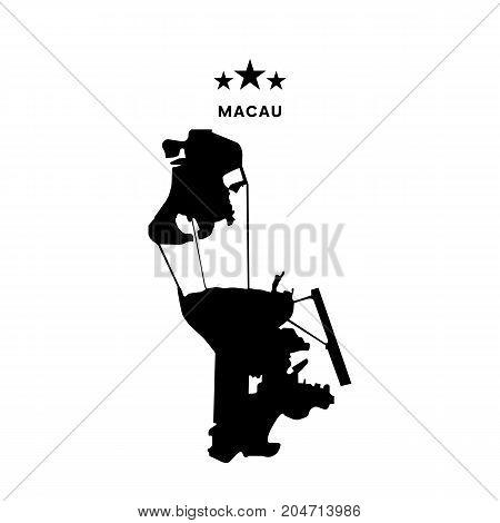 Macau map. Stars and text. Vector illustration.