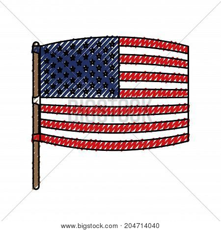 flag united states of america wave out design in flagpole and colored crayon silhouette vector illustration