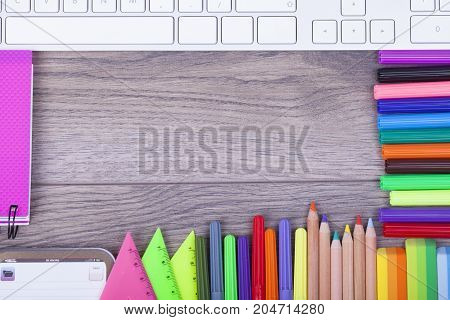 Colorful Stationery Back To School Concept On Wooden Background
