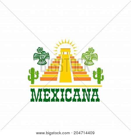 Mexican food isolated icon of national cuisine restaurant. Aztec pyramid temple symbol with cactus, sun and ancient maya bird, adorned by ethnic ornament for mexican fast food restaurant design