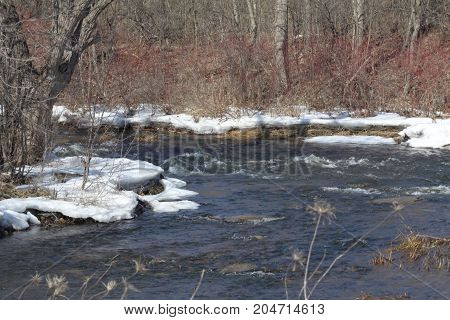 Winter landscape with a fast moving stream of melted ice and flooding the lower area