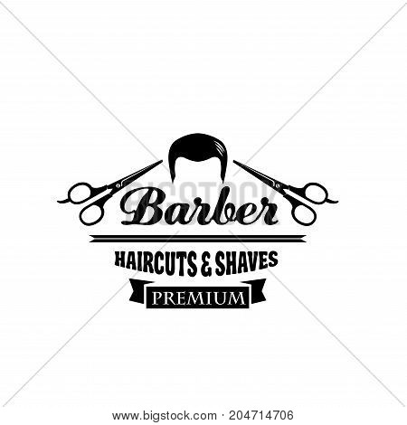 Barber shop symbol or hair salon emblem. Man haircut and shave isolated icon with scissors and ribbon banner for barbershop, gentleman or hipster hairdressing salon signboard design