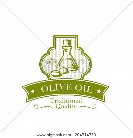 Olive oil product label with bottle and green olive fruit. Extra virgin oil jug and natural organic olives badge with ribbon banner and star for vegetarian food packaging, mediterranean cuisine design
