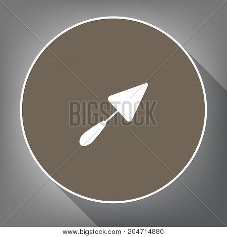 Trowel sign. Vector. White icon on brown circle with white contour and long shadow at gray background. Like top view on postament.