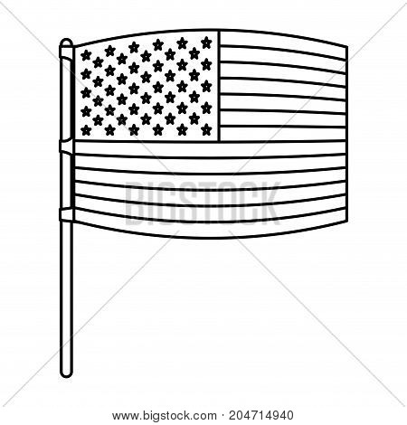 flag united states of america wave out design in flagpole and monochrome silhouette vector illustration