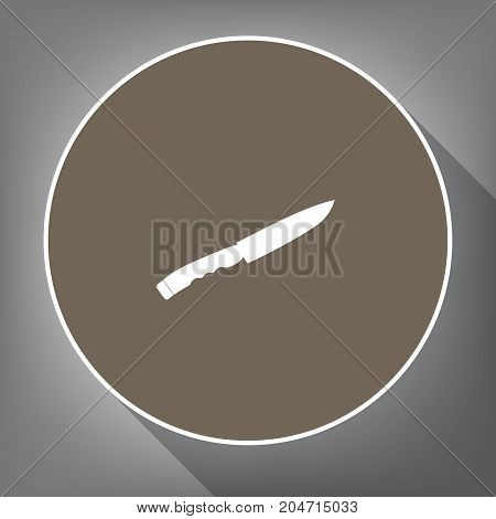 Knife sign. Vector. White icon on brown circle with white contour and long shadow at gray background. Like top view on postament.