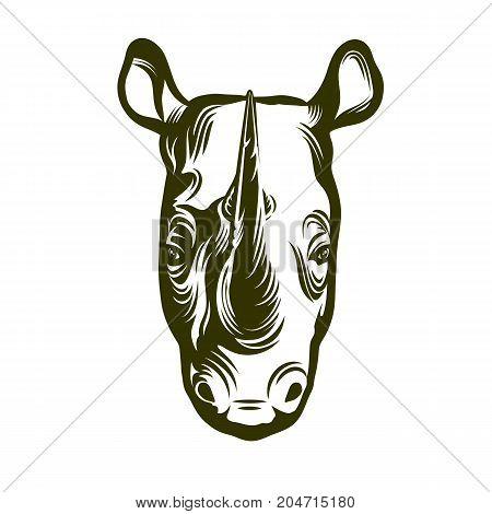 Head of rhino on white background, vector illustration