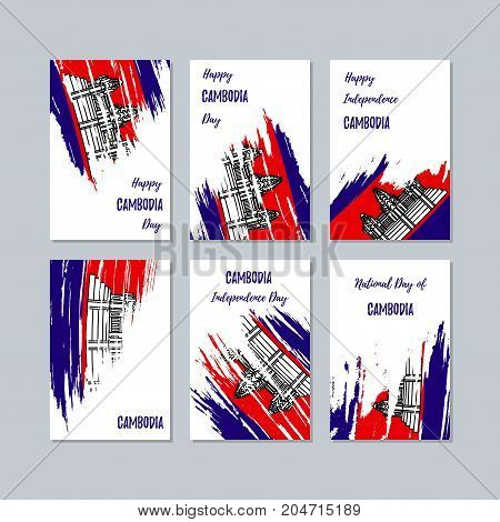Cambodia Patriotic Cards For National Day. Expressive Brush Stroke In National Flag Colors On White