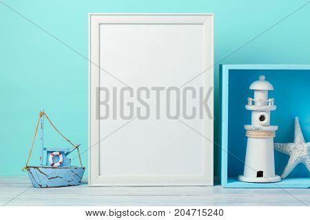 Frame mock up on wooden table. Nursery or kids room interior background