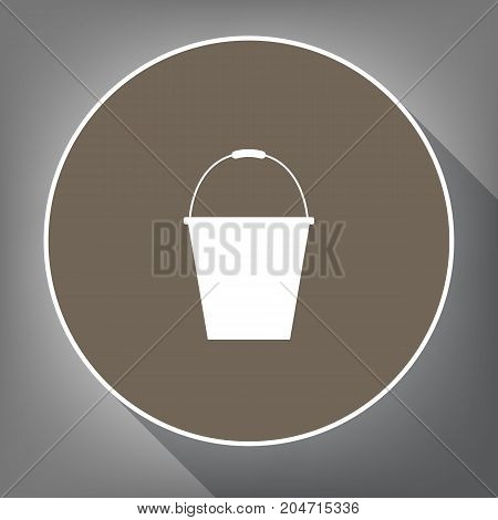 Bucket sign for garden. Vector. White icon on brown circle with white contour and long shadow at gray background. Like top view on postament.