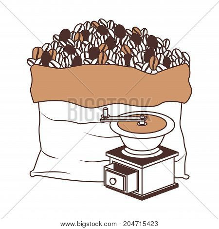 bag of coffee beans and griding with crank silhouette color section on white background vector illustration