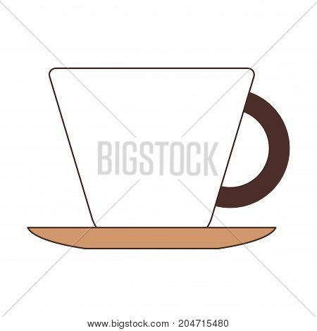 porcelain cup on dish silhouette color section on white background vector illustration